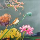 "Hand painted oil painting on canvas""bird and lotus""60x90CM(24""x36"")Unframed-52"