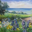 """Hand painted oil painting on canvas""""tiny Pink blossoms""""60x120CM(23.6""""x47.2"""")Unframed-20"""