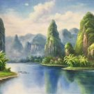 "Hand painted oil painting on canvas""Creek""60x120CM(23.6""x47.2"")Unframed-630"