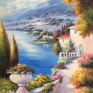 """Hand painted oil painting on canvas""""Sea view Villa""""60x120CM(23.6""""x47.2"""")Unframed-104"""
