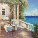 """Mediterranean Hand painted oil painting on canvas""""Sea view Villa""""60x90CM(23.6""""x35.4"""")Unframed-110"""