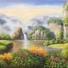 """Hand painted oil painting on canvas""""Creek""""60x120CM(23.6""""x47.2"""")Unframed-666"""