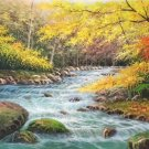 "American style Hand painted oil painting on canvas""Creek""70x180CM(27.6""x70.9"")Unframed-684"