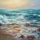 """Simple modern Hand painted oil painting on canvas""""Waves""""70x100CM(30""""x40"""")Unframed-26"""