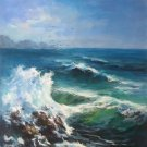 """Simple modern Hand painted oil painting on canvas""""Waves""""70x100CM(30""""x40"""")Unframed-34"""