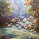"Hand painted oil painting on canvas""Creek""75x100CM(30""x40"")Unframed-689"