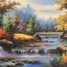 "Hand painted oil painting on canvas""Creek""60x90CM(23.6""x35.4"")Unframed-708"