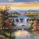 "Hand painted oil painting on canvas""Creek""60x90CM(23.6""x35.4"")Unframed-709"