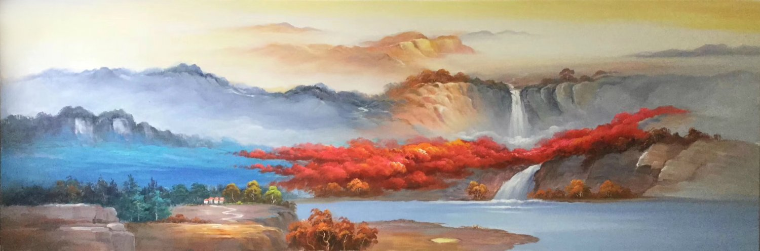 """American style Hand painted oil painting on canvas""""Creek""""60x180CM(23.6""""x70.9"""")Unframed-725"""