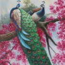 "Simple modern Hand painted oil painting on canvas""Gorgeous peacock""80x160CM(33""x63"")Unframed-92"