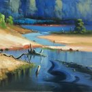 "Hand painted oil painting on canvas""Creek""50x60CM(19.7""x23.6"")Unframed-730"