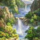 """Hand painted oil painting on canvas""""Mountain and water""""80x160CM(33""""x63"""")Unframed-731"""
