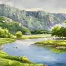 """American style Hand painted oil painting on canvas""""Creek""""70x180CM(27.6""""x70.9"""")Unframed-735"""