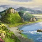 """American style Hand painted oil painting on canvas""""Creek""""70x180CM(27.6""""x70.9"""")Unframed-737"""