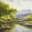 """American style Hand painted oil painting on canvas""""Creek""""70x180CM(27.6""""x70.9"""")Unframed-739"""