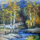 "Hand painted oil painting on canvas""Creek""60x90CM(23.6""x35.4"")Unframed-748"