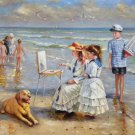 "Hand painted oil painting on canvas""Children playing at the seaside""60x90CM(23.6""x35.4"")Unframed-61"