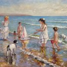 "Hand painted oil painting on canvas""Children playing at the seaside""60x90CM(23.6""x35.4"")Unframed-62"