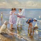 "Hand painted oil painting on canvas""Children playing at the seaside""60x90CM(23.6""x35.4"")Unframed-63"