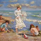 "Hand painted oil painting on canvas""Children playing at the seaside""60x90CM(23.6""x35.4"")Unframed-64"