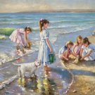 "Hand painted oil painting on canvas""Children playing at the seaside""60x90CM(23.6""x35.4"")Unframed-65"