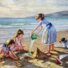 "Hand painted oil painting on canvas""Children playing at the seaside""60x90CM(23.6""x35.4"")Unframed-66"