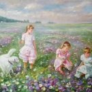 "Hand painted oil painting on canvas""Children playing at the seaside""60x90CM(23.6""x35.4"")Unframed-67"