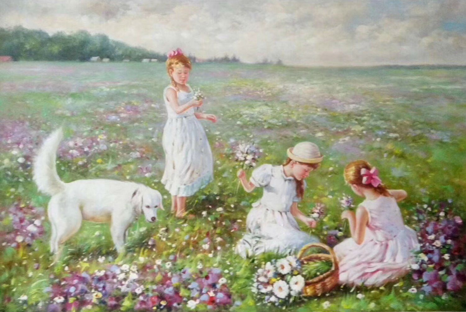 """Hand painted oil painting on canvas""""Children playing at the seaside""""60x90CM(23.6""""x35.4"""")Unframed-68"""