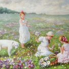 "Hand painted oil painting on canvas""Children playing at the seaside""60x90CM(23.6""x35.4"")Unframed-68"