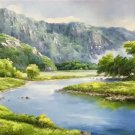 "American style Hand painted oil painting on canvas""Creek""70x180CM(27.6""x70.9"")Unframed-758"