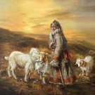 "Hand painted oil painting on canvas""Shepherd""110x120CM(43""x48"")Unframed-69"