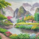 "Hand painted oil painting on canvas""Creek""60x120CM(23.6""x47.2"")Unframed-766"