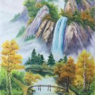 """Hand painted oil painting on canvas""""Creek""""60x120CM(23.6""""x47.2"""")Unframed-773"""