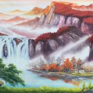 """Hand painted oil painting on canvas""""Creek""""60x120CM(23.6""""x47.2"""")Unframed-776"""
