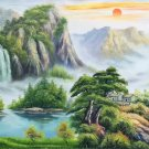 """Hand painted oil painting on canvas""""Creek""""60x120CM(23.6""""x47.2"""")Unframed-778"""