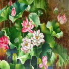 """Hand painted oil painting on canvas""""Abstract lotus""""80x160CM(33""""x63"""")Unframed-90"""