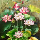 """Hand painted oil painting on canvas""""Abstract lotus""""80x160CM(33""""x63"""")Unframed-91"""