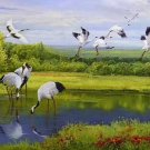 "Chinese style Hand painted oil painting on canvas""Red-crowned crane""80x200CM(33""x80"")Unframed-12"