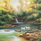 "Hand painted oil painting on canvas""Creek""60x120CM(23.6""x47.2"")Unframed-790"
