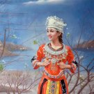 "Chinese style Hand painted oil painting on canvas""Chinese beauty""75x100CM(30""x40"")Unframed-70"