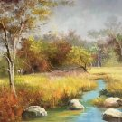 "Hand painted oil painting on canvas""Creek""50x60CM(19.7""x23.6"")Unframed-801"