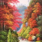 """Hand painted oil painting on canvas""""Creek""""70x140CM(30""""x55"""")Unframed-803"""