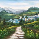 "Hand painted oil painting on canvas""Image of the countryside""70x180CM(27.6""x70.9"")Unframed-240"