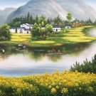"Hand painted oil painting on canvas""Image of the countryside""70x180CM(27.6""x70.9"")Unframed-241"