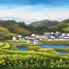 "Hand painted oil painting on canvas""Image of the countryside""70x180CM(27.6""x70.9"")Unframed-242"