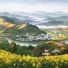 "Hand painted oil painting on canvas""Image of the countryside""70x180CM(27.6""x70.9"")Unframed-243"
