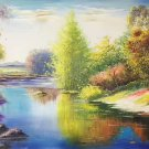 "Hand painted oil painting on canvas""creek""60x90CM(23.6""x35.4"")Unframed-812"