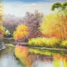 "Hand painted oil painting on canvas""creek""60x90CM(23.6""x35.4"")Unframed-813"
