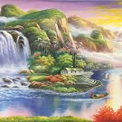 "Hand painted oil painting on canvas""Mountain and water""90x220CM(36""x87"")Unframed-820"