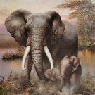 "Simple modern Hand painted oil painting on canvas""Elephant""79x110CM(31""x43.4"")Unframed-02"